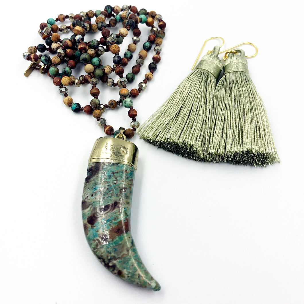 Ghost Eye Jasper Necklace with Tassel Earrings