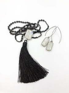 Satin Tassel Moonstone Necklace with Matching Earrings
