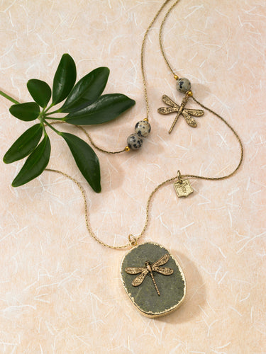 Long Gold Necklace with Dragonflies