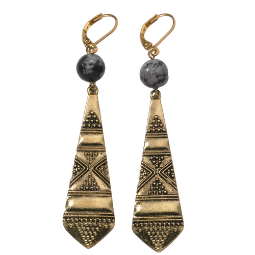 Geometric Earrings with Snowflake Obsidian