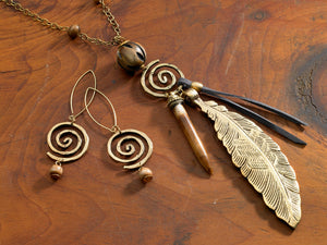Tribal Leaf Necklace and Earrings
