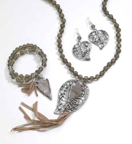 Leaf and Arrowhead Necklace, Bracelet and Earrings