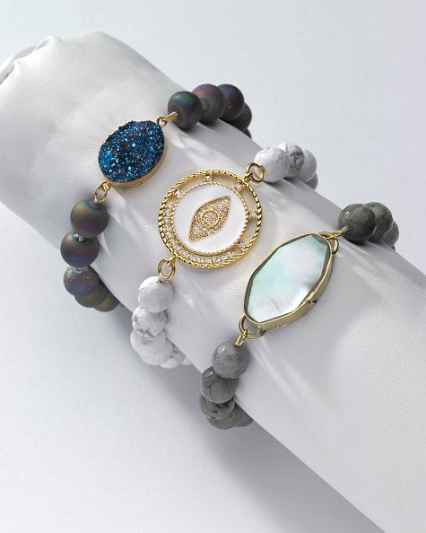 Stone Bracelets with Centerpieces