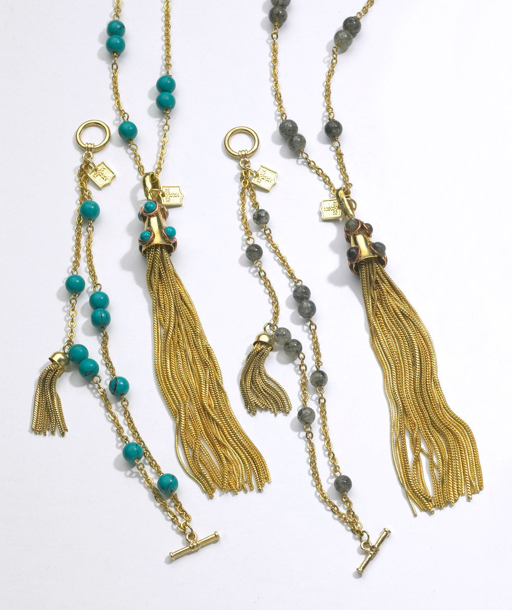 Stone studded tassel and chain necklaces and bracelets