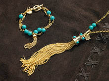 Load image into Gallery viewer, Stone studded tassel and chain necklaces and bracelets