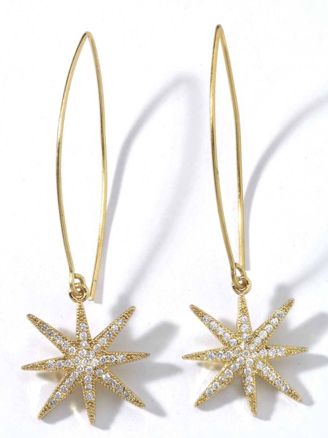 Gold sparkling stars on long ear wires