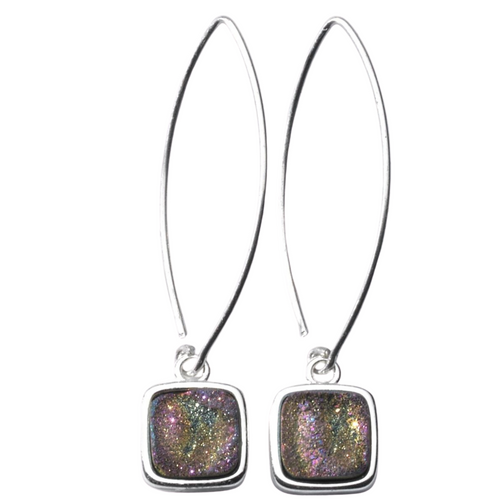 Mystic rainbow druzy on long ear wires