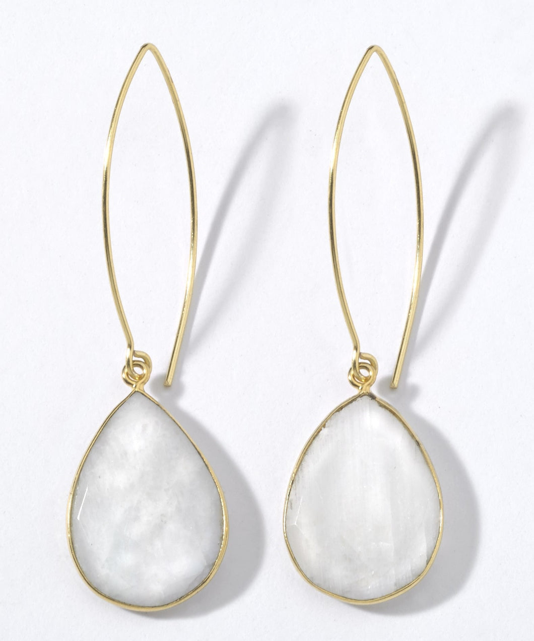 Moonstone teardrops on long ear wires