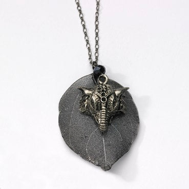 Long gunmetal necklaces with unique pendants