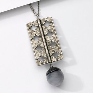 Long Antiqued Silver Necklaces with Statement Pendants