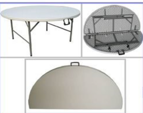 Plastic Round Fold In Half Table 1.5M (8 Seater)