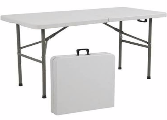 Trestle Table White 1.8M Fold In Half
