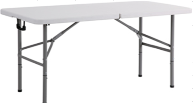 Trestle Table White 1.2M Fold In Half