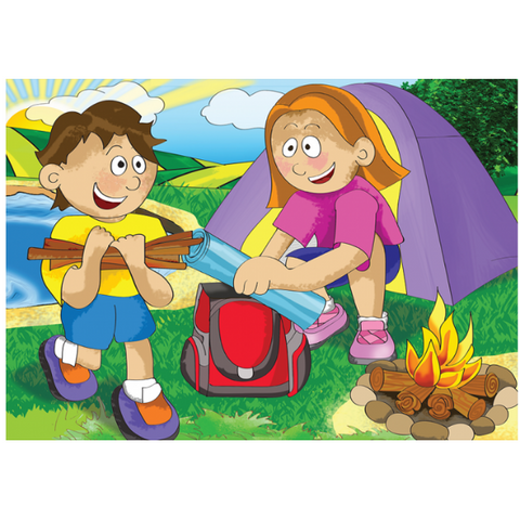 Camping Wooden Jigsaw Puzzle - 12 Pieces