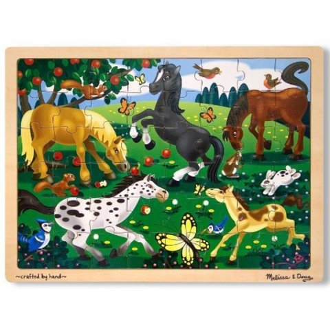 Frolicking Horses Wooden Jigsaw Puzzle - 48 Pieces
