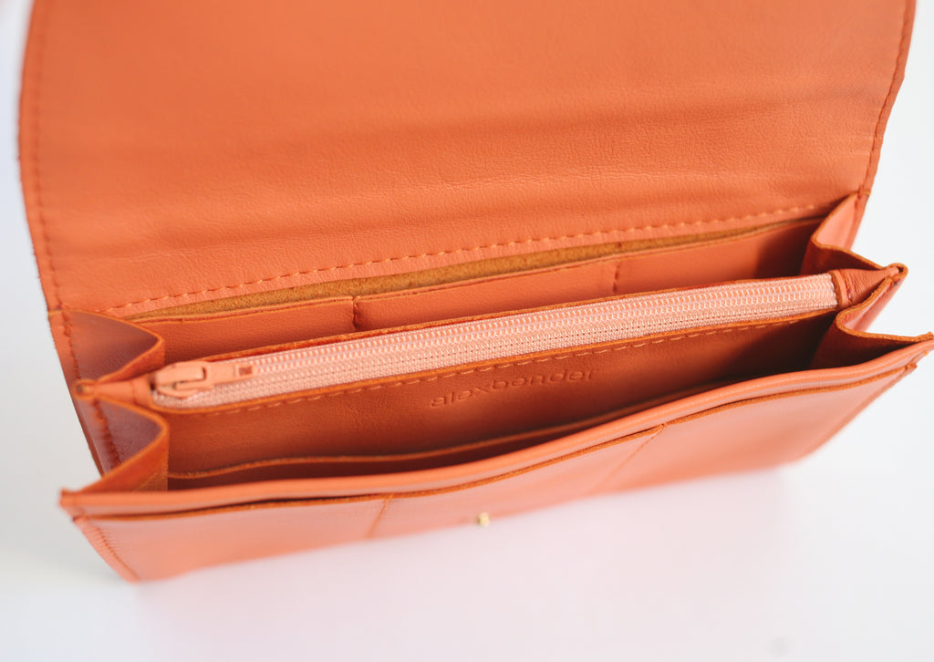 alexbender- Clutch Portemonnaie echt Leder Orange in Berlin kaufen