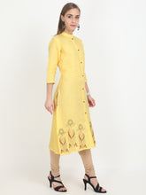 Load image into Gallery viewer, Svarasa Women's Irish Linen Canary Yellow embroidery Formal Kurta