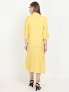 Svarasa Women's Irish Linen Canary Yellow embroidery Formal Kurta