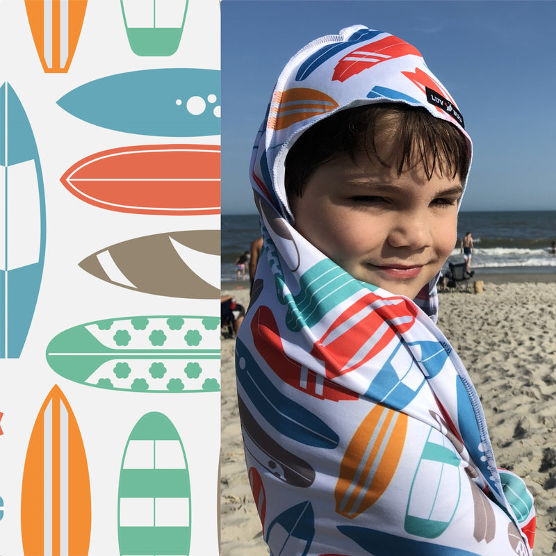 UPF 50+ Sunscreen Towel with Hood (Surf Boards)