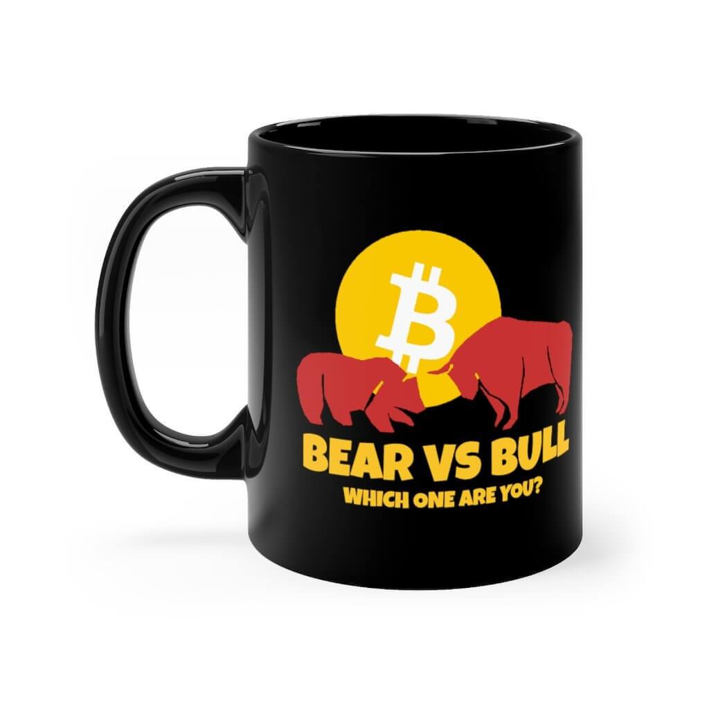 Bear vs Bull Bitcoin Black mug 11oz - 11oz - Mug