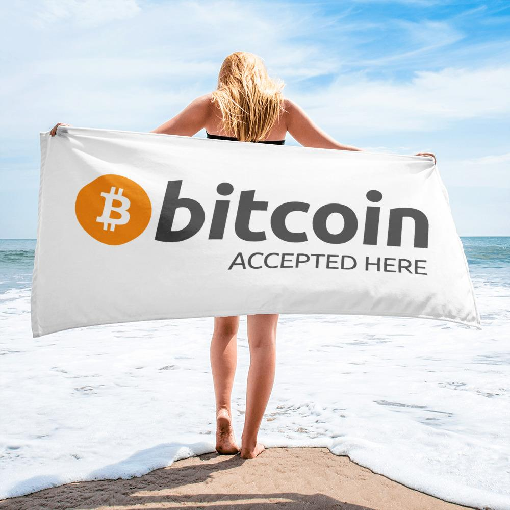 Bitcoin Accepted Here Towel