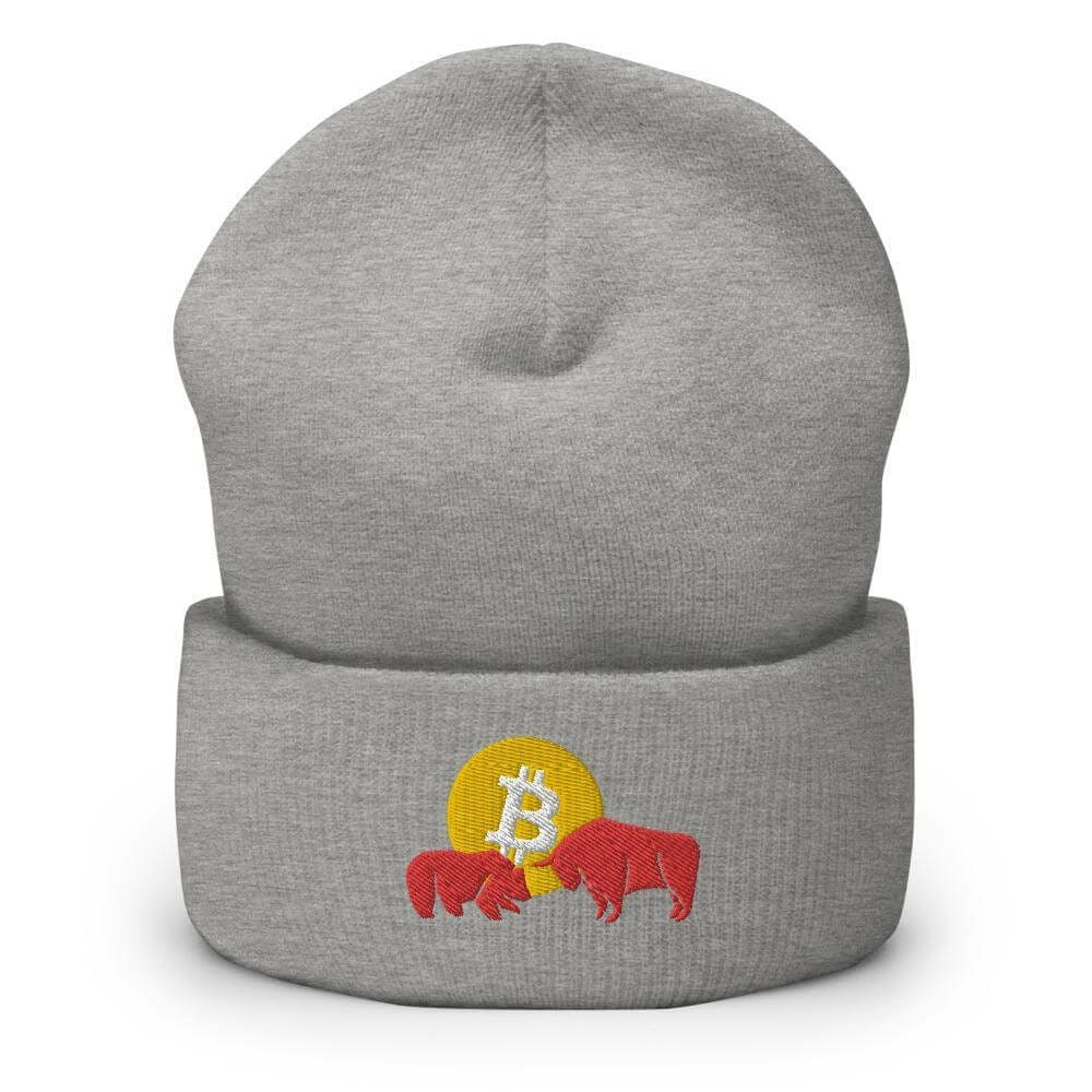 Bitcoin Bear vs Bull Cuffed Beanie - Heather Grey