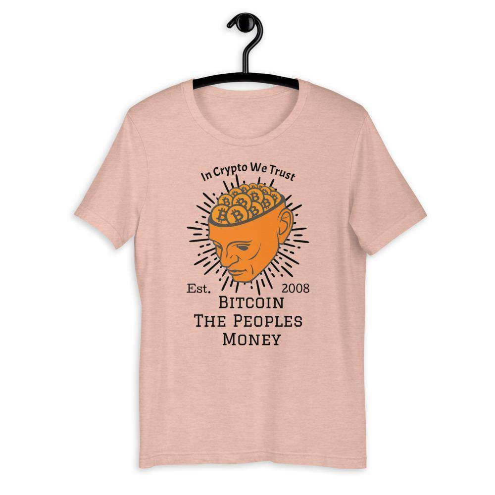 Bitcoin-Head, Unisex T-Shirt TheBitcoinWardrobe Heather Prism Peach XS