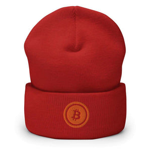 Bitcoin Logo Cuffed Beanie - Red