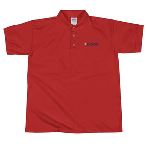 Bitcoin Logo Embroidered Polo Shirt - Red / S