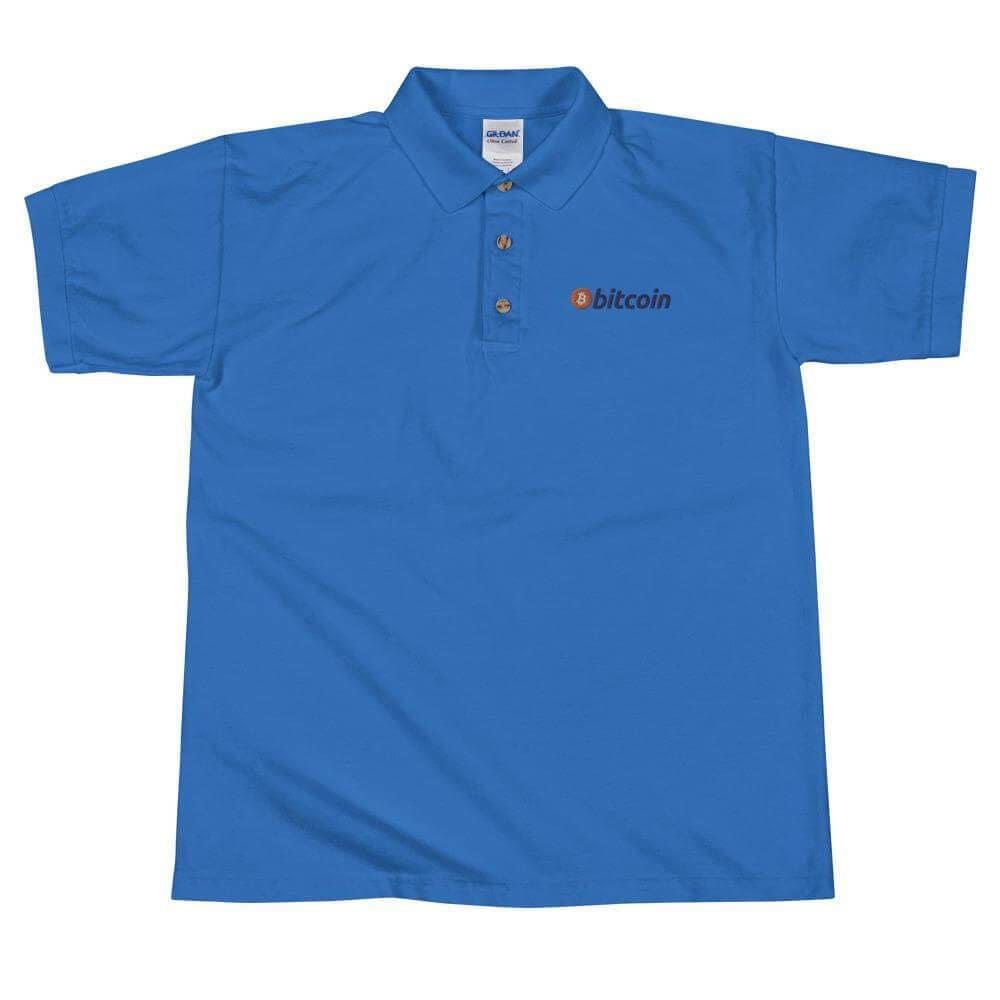 Bitcoin Logo Embroidered Polo Shirt - Royal / S