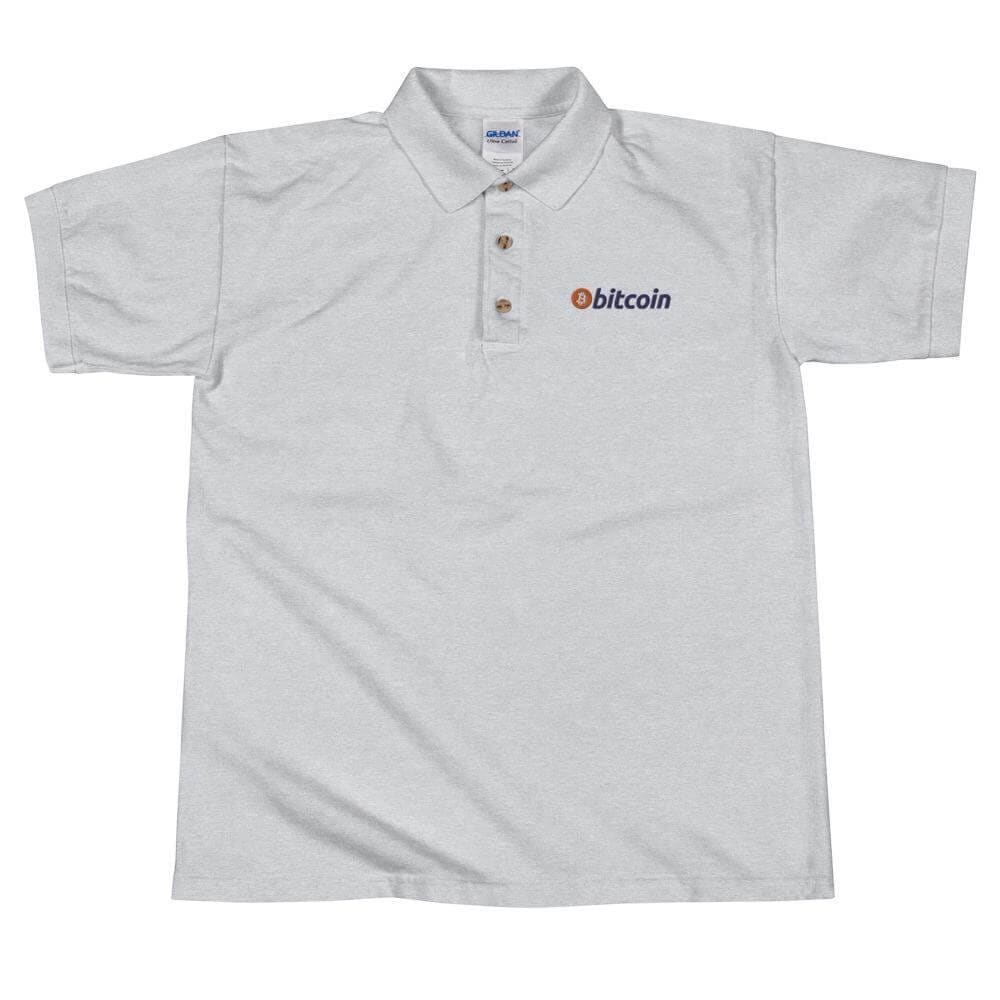 Bitcoin Logo Embroidered Polo Shirt - Sport Grey / S