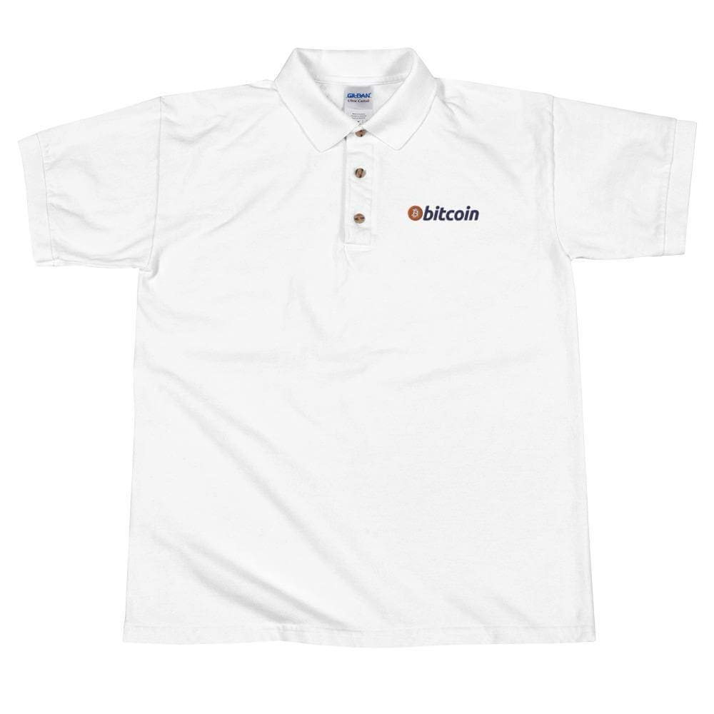 Bitcoin Logo Embroidered Polo Shirt - White / S
