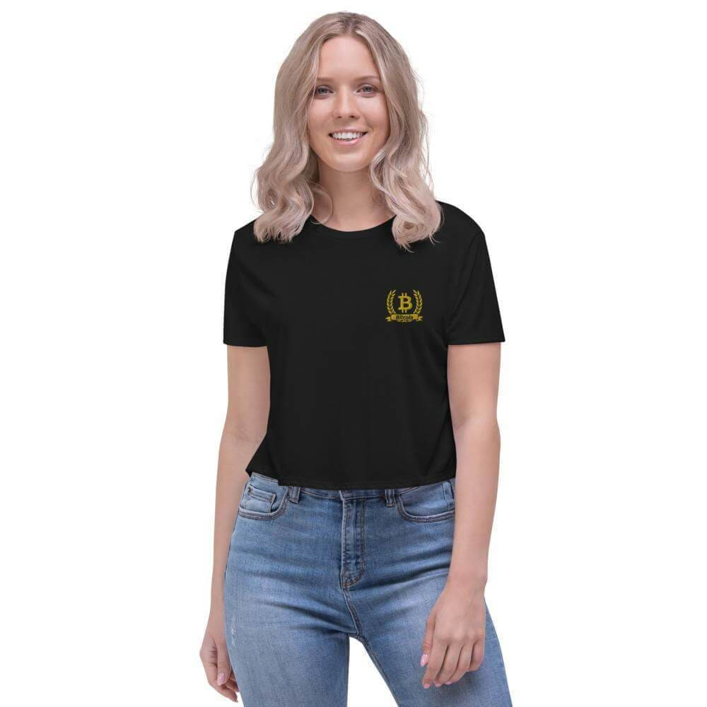 Bitcoin Olive Branch Embroidered Crop Tee