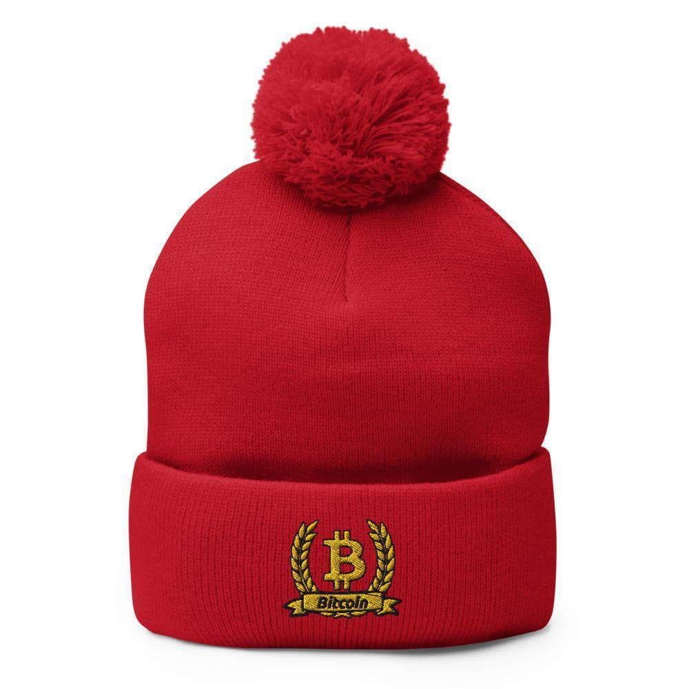 Bitcoin Olive Branch Pom-Pom Beanie - Red