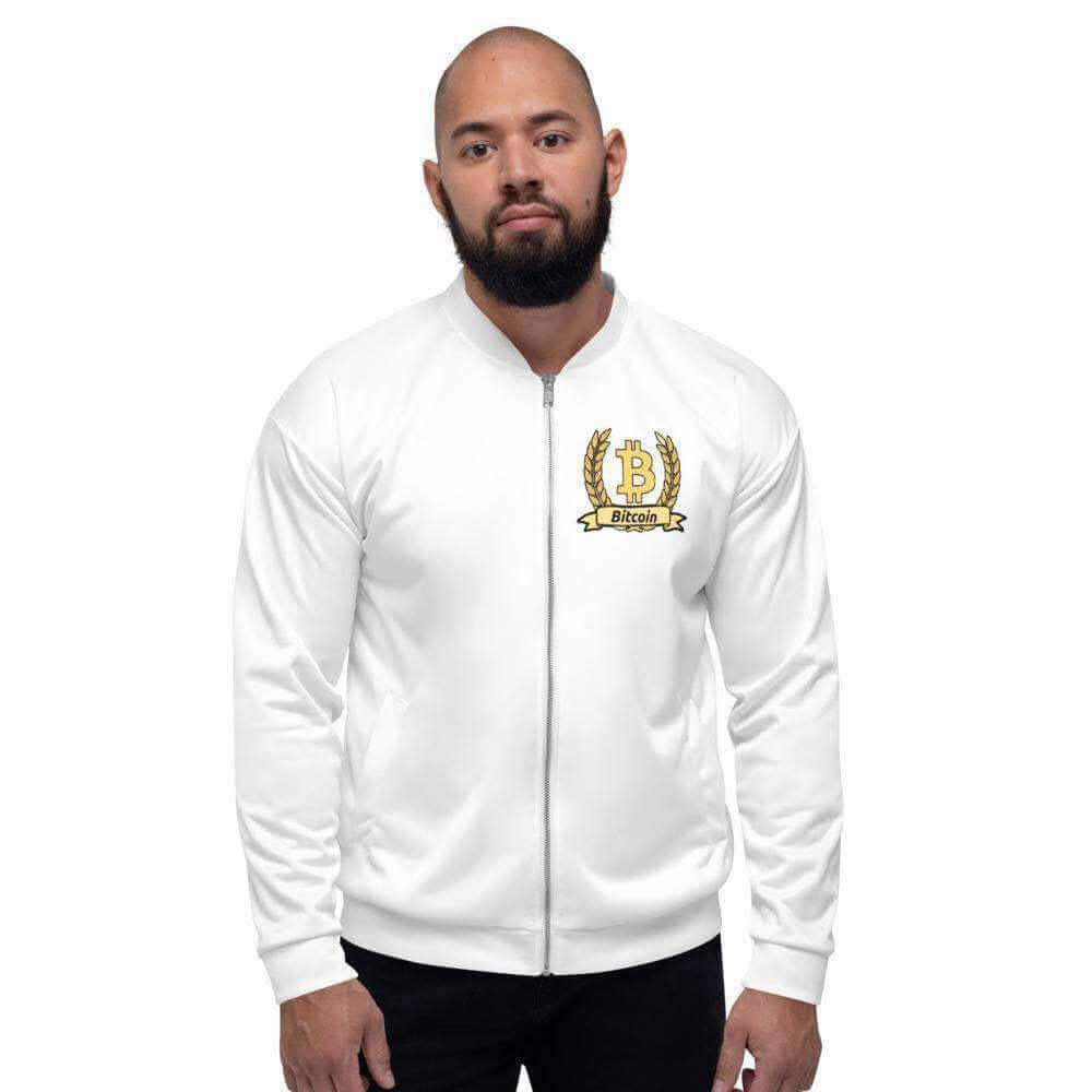 Bitcoin Olive Branch Unisex Bomber Jacket - XS