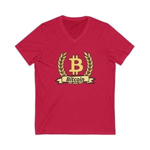 Bitcoin Olive Branch Unisex V-Neck Tee - Red / L - V-neck