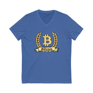 Bitcoin Olive Branch Unisex V-Neck Tee - True Royal / S -