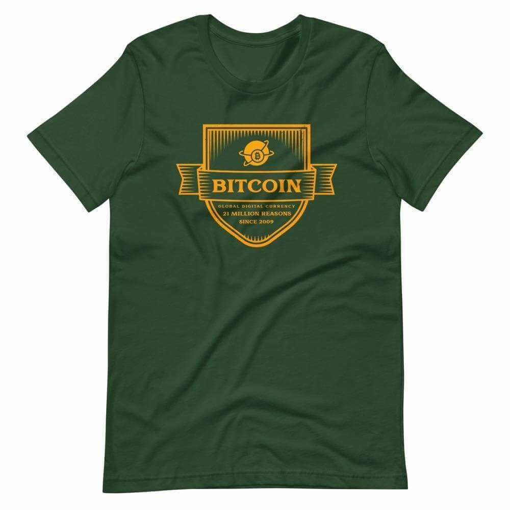 Bitcoin The Global Currency Unisex T-Shirt - Forest / S