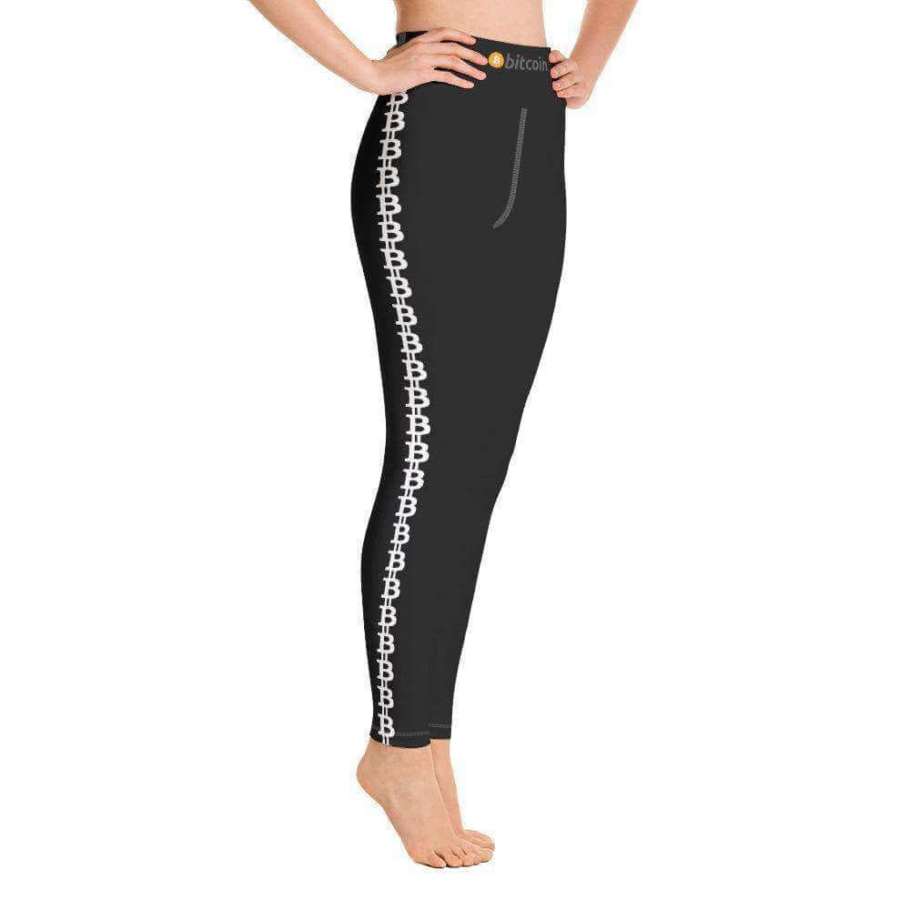 Black Bitcoin Stripe Yoga Leggings
