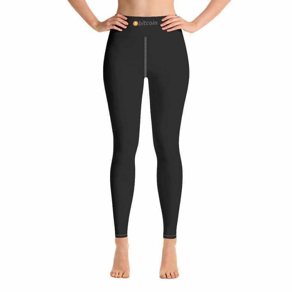 Black Bitcoin Stripe Yoga Leggings - XS