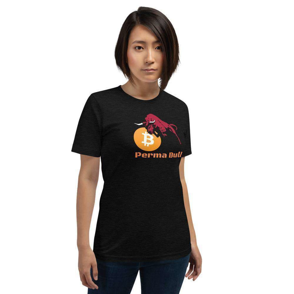 Large Perma Bull, Unisex T-Shirt TheBitcoinWardrobe Black Heather XS