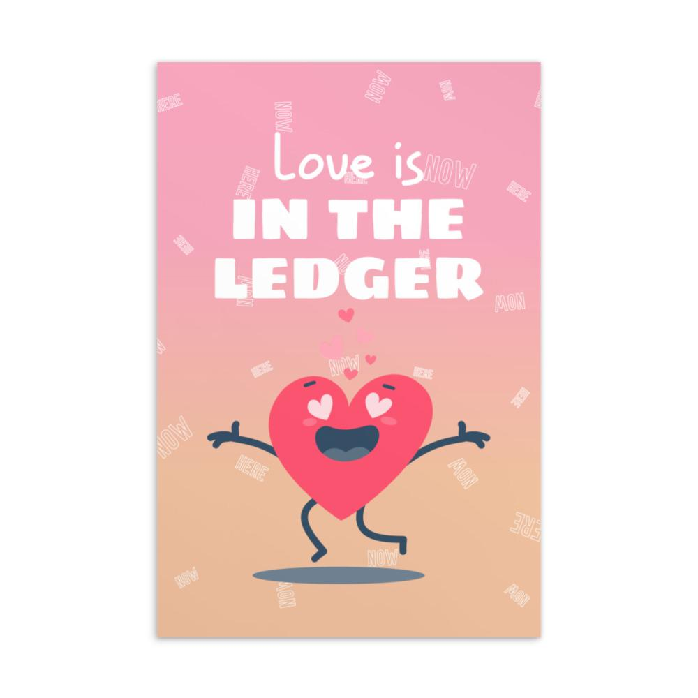 Love is in the Ledger, Valentines day Postcard