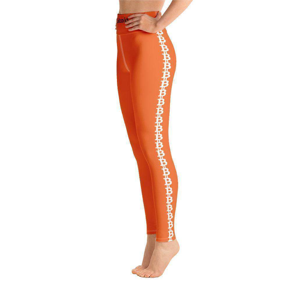 Orange Bitcoin Stripe Yoga Leggings TheBitcoinWardrobe
