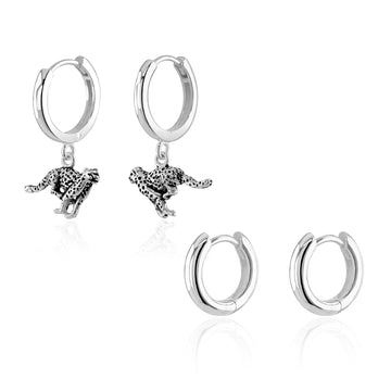 Silver Cheetah Huggie Hoops Layering Set