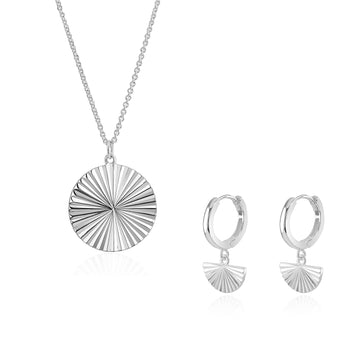 Silver Sun Dial Huggie Hoops and Necklace Set
