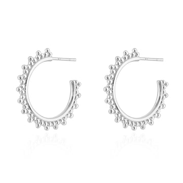 Silver Bobble Hoop Earrings