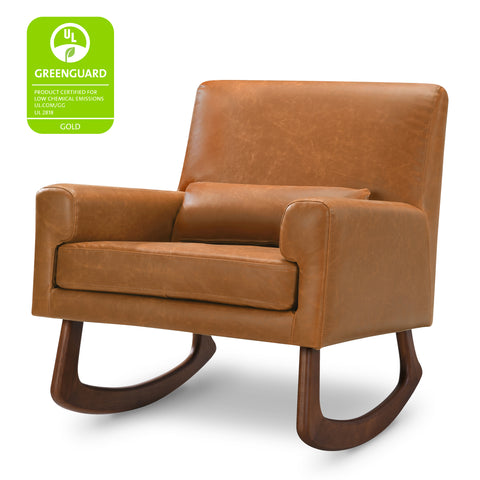 sleepytime rocker in brown vegan leather rocking chair perfect for nursing