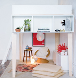 oeuf perch loft bed white and birch wood  side shelving