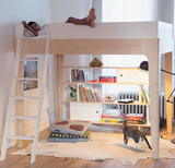 oeuf perch loft bed white and birch wood