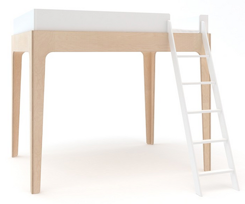 oeuf perch loft bed in white/birch non toxic kids furniture